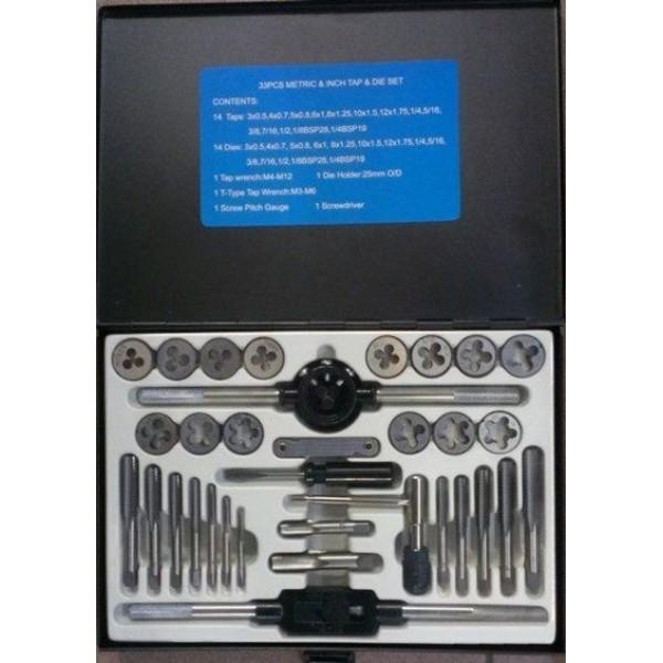 Forsage Набор метчиков и плашек 33пр. (метрич + дюйм) в метал.кейсе F-M033-3
