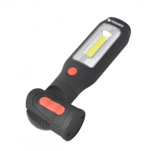 Forsage Лампа переносная светодиодная аккумуляторная с магнитом + крючок (поворотная на 360гр. + 180гр. боковой свет 3W СОВ, торцевой свет 1W LED, 3.7V, 2000m F-01404