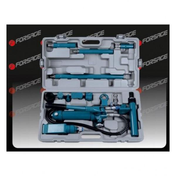F-70402S Forsage Набор гидравлического оборудования для кузовных работ, 4т, 14пр. (насос, цилиндры + комплект удлинителей и надставок), в кейсе