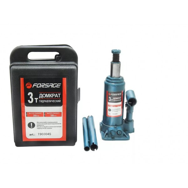 Forsage Домкрат бутылочный  3 т с клапаном (h min 180мм, h max 350мм,вес 3,8 кг) в кейсе F-T90304S