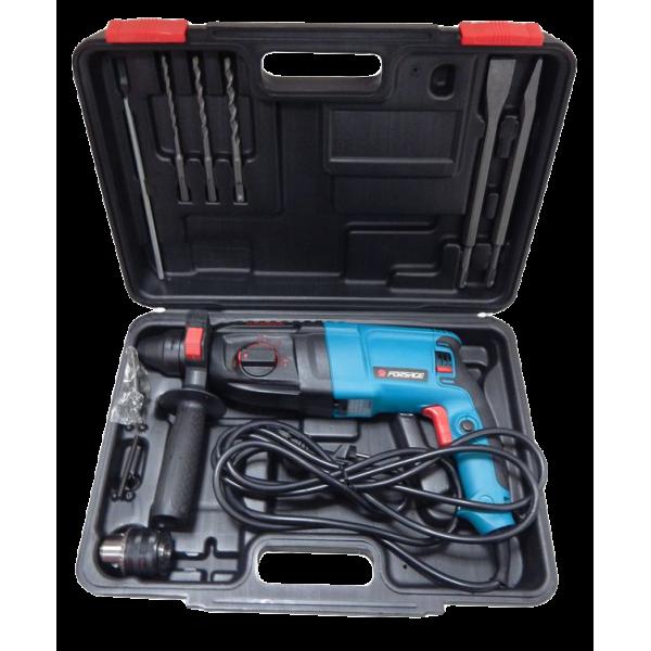 Перфоратор Forsage electro RH26-980EC Plus (980 W, SDS, 0-1100 об/мин, 4-26 мм, шнур 3м) с комплектом насадок + патрон